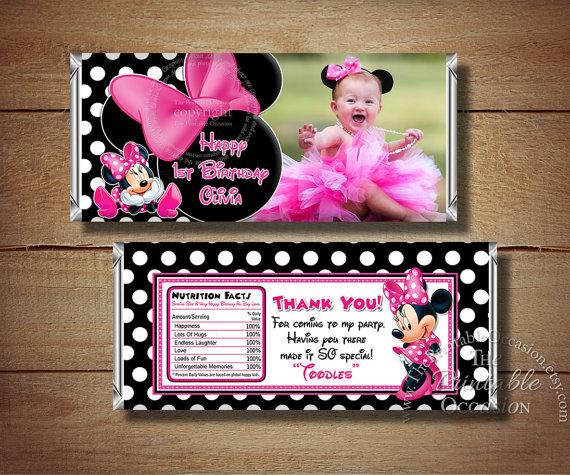 Printable Minnie Mouse Birthday Candy Bar Wrer Pink Polka Dot Photo Wr