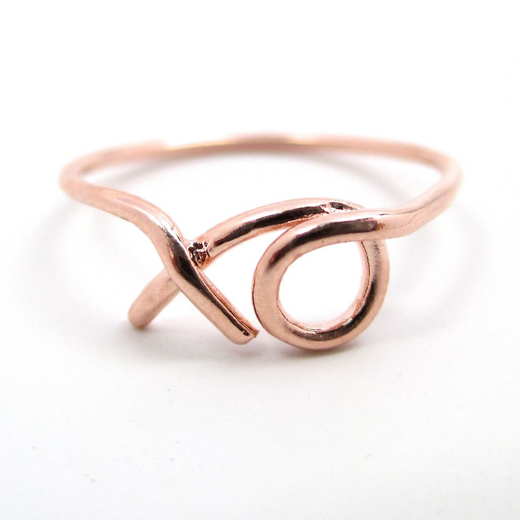 Glamour Stoned – XO Knuckle Ring- rose gold wired thin cute pretty midi ring