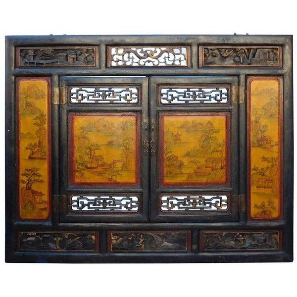 Chinese Carved Scenery Wall Panel In Yellow (£1,985) ❤ Liked On