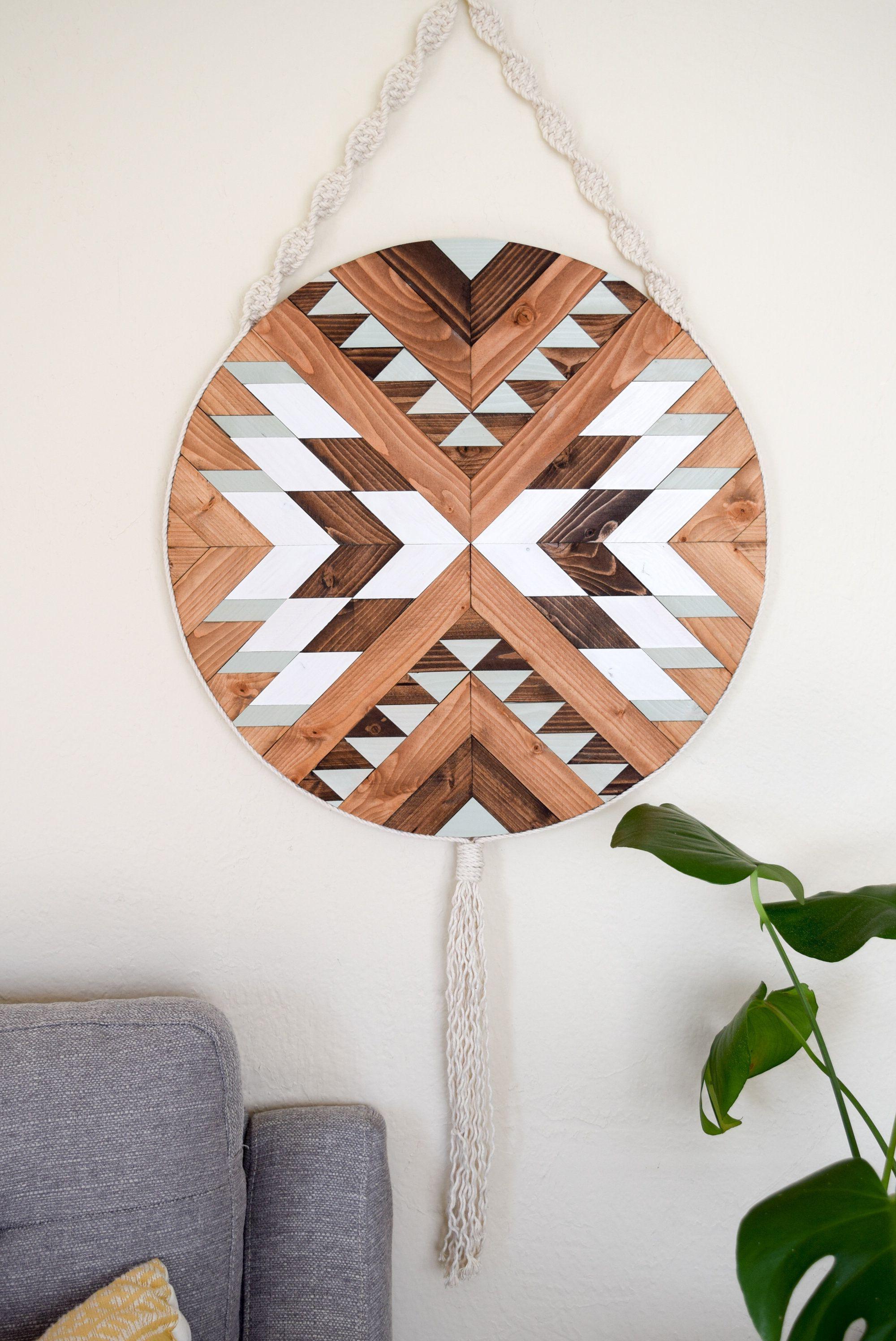 Pueblo wood wall art macrame wall hanging boho wood art round