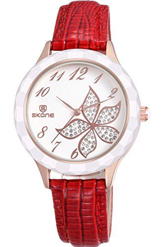 Skone Womens Dress Fashion Luxury Red Leather Quartz Watches *** Be sure to check out this awesome product. (Note:Amazon affiliate link)