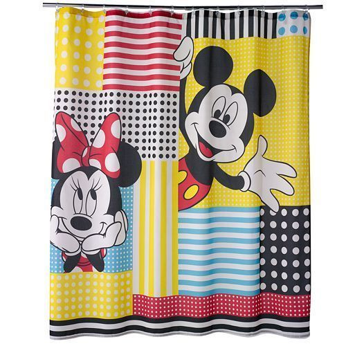 Disney Mickey Mouse And Friends Shower Curtain Aqua Red Yellow White Fabric Disney Modern Mickey Mouse Bathroom Disney Bathroom Fabric Shower Curtains