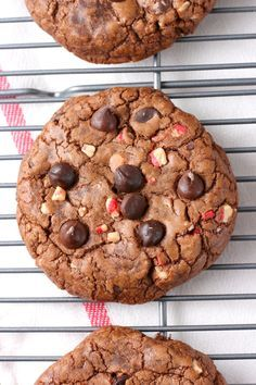Giant Peppermint Chocolate Fudge Cookies