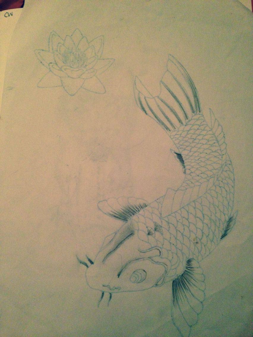 A Koi Fish And A Lotus Flower That I Drew That Someone Actually Got