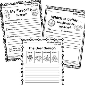 Fourth Grade Opinion Writing Prompts and Worksheets