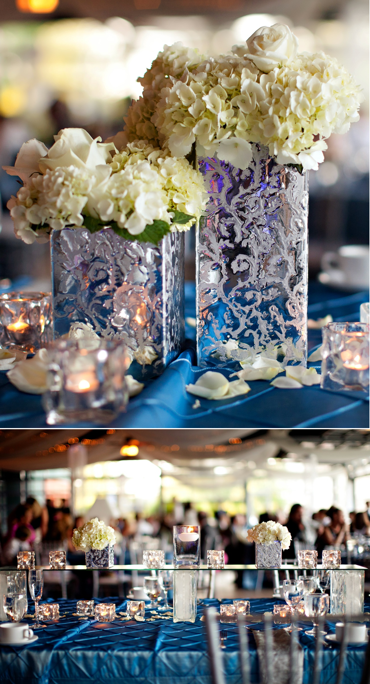 wedding receptions in blue | spring wedding with blue, silver, ivory ...