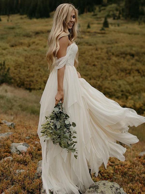Ruffle Tiers Floor Length Off Shoulder Backless Chiffon Wedding Dresses 8