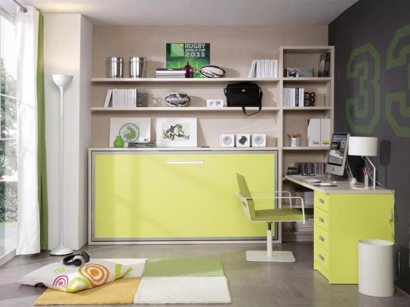 fold away single wall bed with optional shelves and desk trendy