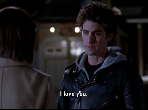 I cried during this scene! Jess FINALLY tells Rory that he loves her! Best Gilmore Girls quote ever!