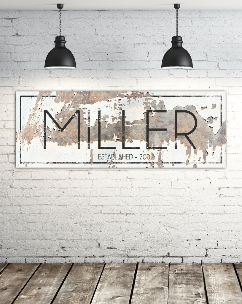 The Miller Sign Personalized Chippy Farmhouse Canvas Wall Art Nlsc0117 Name Wall Art Large Wall Decor Wall Signs