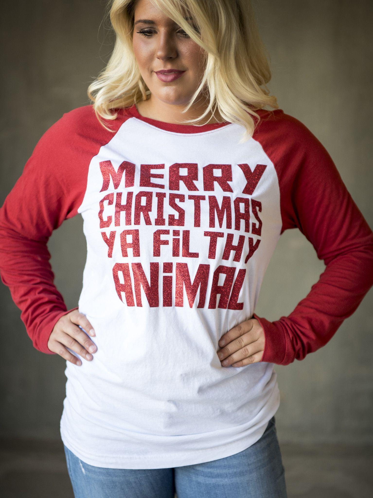 c206546df Home Alone Merry Christmas Ya Filthy Animal Funny Christmas shirt Holiday  Funny Long Sleeve Tee