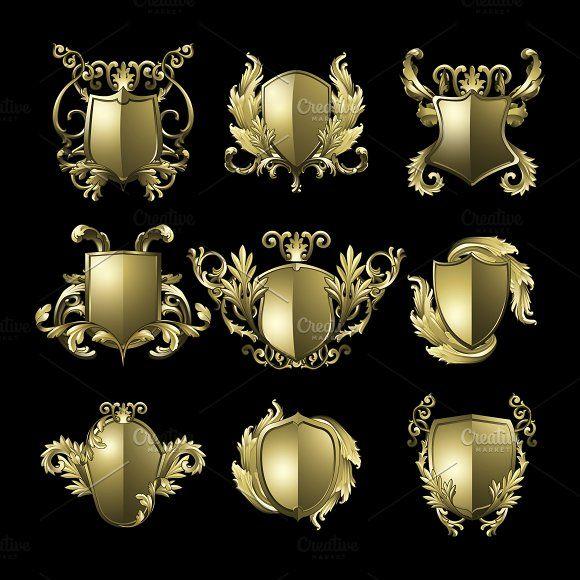 Black Baroque Shield Elements Vector: Golden Baroque Shield Elements