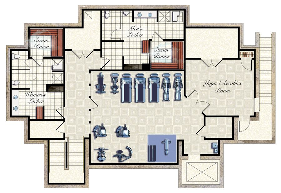 Fitness Center Free floor plans, Floor plans, Gym