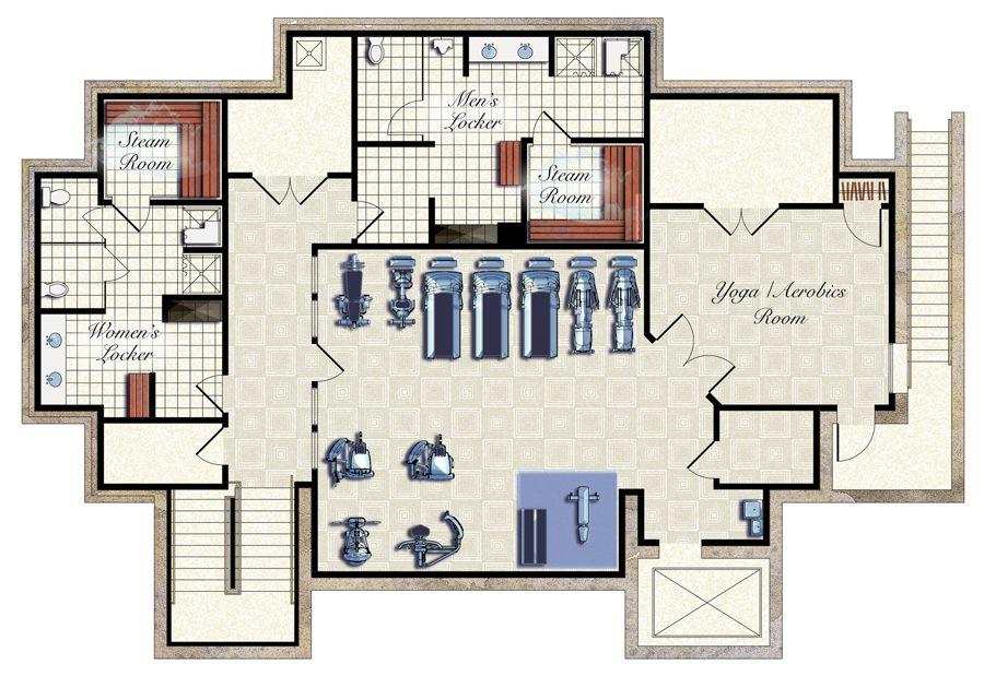 Fitness center spa floor plans pinterest fitness for Fitness center floor plan