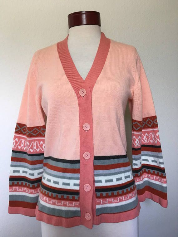 boho rust vtg cardigan hippie cardigan cardigan vintage 1970s sweater M bell bohemian 70s medium retro cardigan sleeve peach cardigan q8FYA