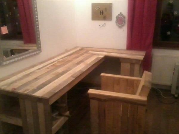 diy pallet computer desk and chair pallet furniture plans - Homemade Wooden Desk Designs