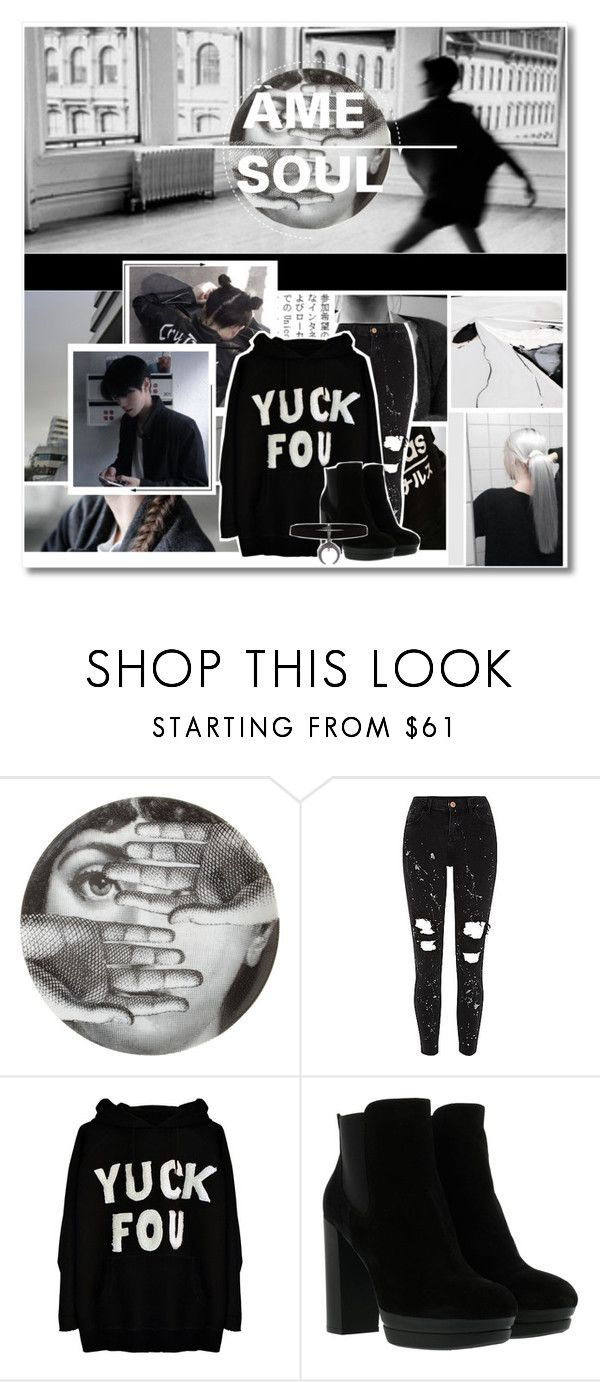 """""""Hell Of A Girl"""" by cooperanna ❤ liked on Polyvore featuring Fornasetti, xO Design, Hogan, models, alternative, blackoutfit and Ulzzang"""