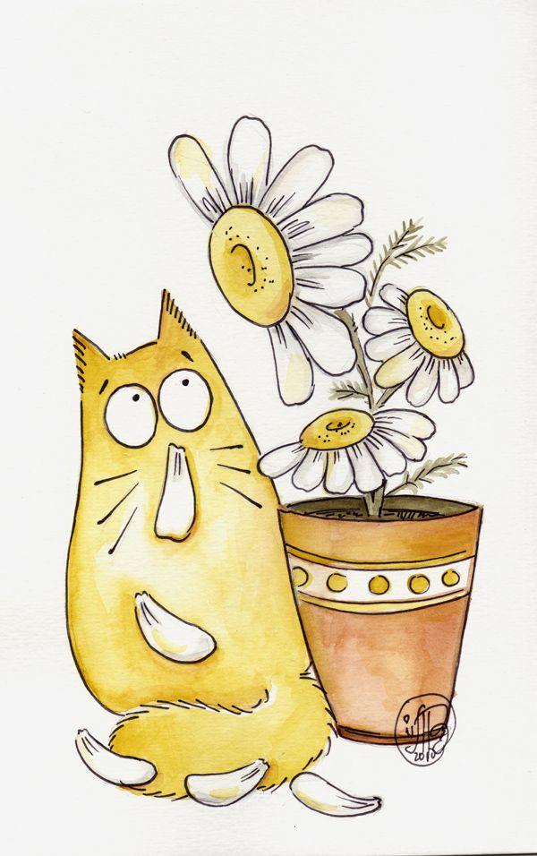 Кошки смешные рисованные картинки