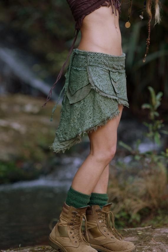 Primitive Rock (Light Green)-Festival Clothing Gypsy Boho Rock Hippie Cotton Crochet Knee Goa Ethnic Nomadic Rave Psytrance Boho