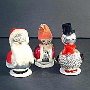 Glass Chenille Whimsy Santa, Snowman Christmas Ornaments