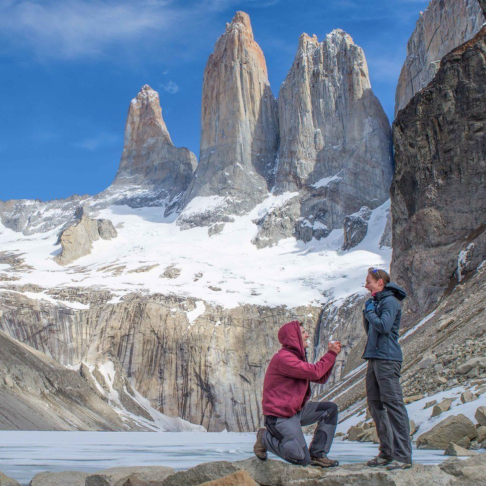 One of our best memories ever : in October 2015 our guest David proposed to Tess in one of the most beautiful places in the world; the towers' base lookout. Of course she said yes. Shot by @timothydhalleine #Romantic #Romance #Travel #Love #Wild #Nature #Mountains #Hiking #Snow #Travegram #Traveltheworld #Traveldaily #Landscape #Patagonia #Chile