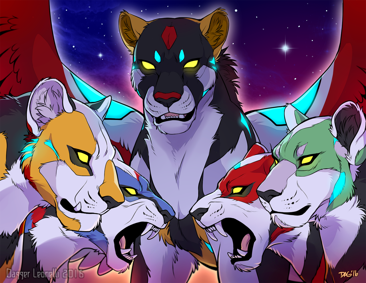 Black Lion, Blue Lion, Yellow Lion, Green Lion And Red