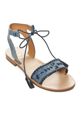 69b032bfa Jack Rogers Women's Tate Raffia Lace Up Flat Sandal - Blue/Midnight - 10M