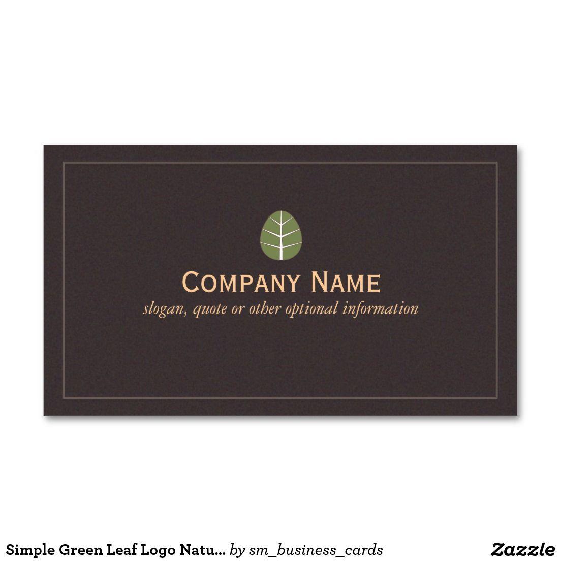 Simple Green Leaf Logo Nature Business Card   Leaf logo, Business ...