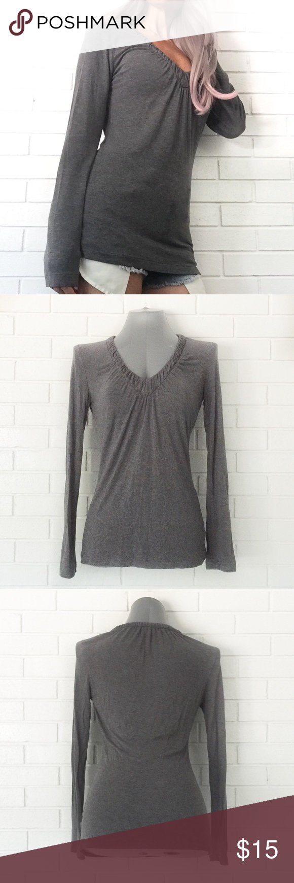 "🔴BOGO FREE🔴Banana Republic Gray V-neck Top ♦️️BOGO FREE SALE: Pick any two items at list price and receive the lesser value item for free. Please ask me to create your bundle ONLY when you are ready to purchase♦️  •Very good condition-no flaws •Ruched v-neck •Long sleeves •Slim fit •M  •Waist: "" (laying flat) •Length: ""  •NO TRADE/HOLD  •YES BUNDLES   •PLEASE ASK QUESTIONS & READ DESCRIPTIONS. Measurements and sizing recommendations are for guidance purposes only. I cannot guarantee fit❗…"