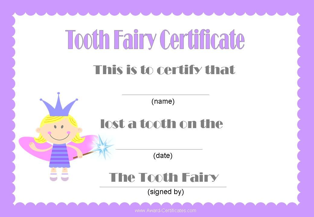 Tooth Fairy Certificate Tooth Fairy Certificate Tooth Fairy