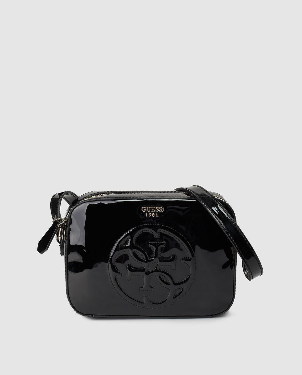 Women's Small Black Glossy Finish Crossbody Bag | Bagaholic