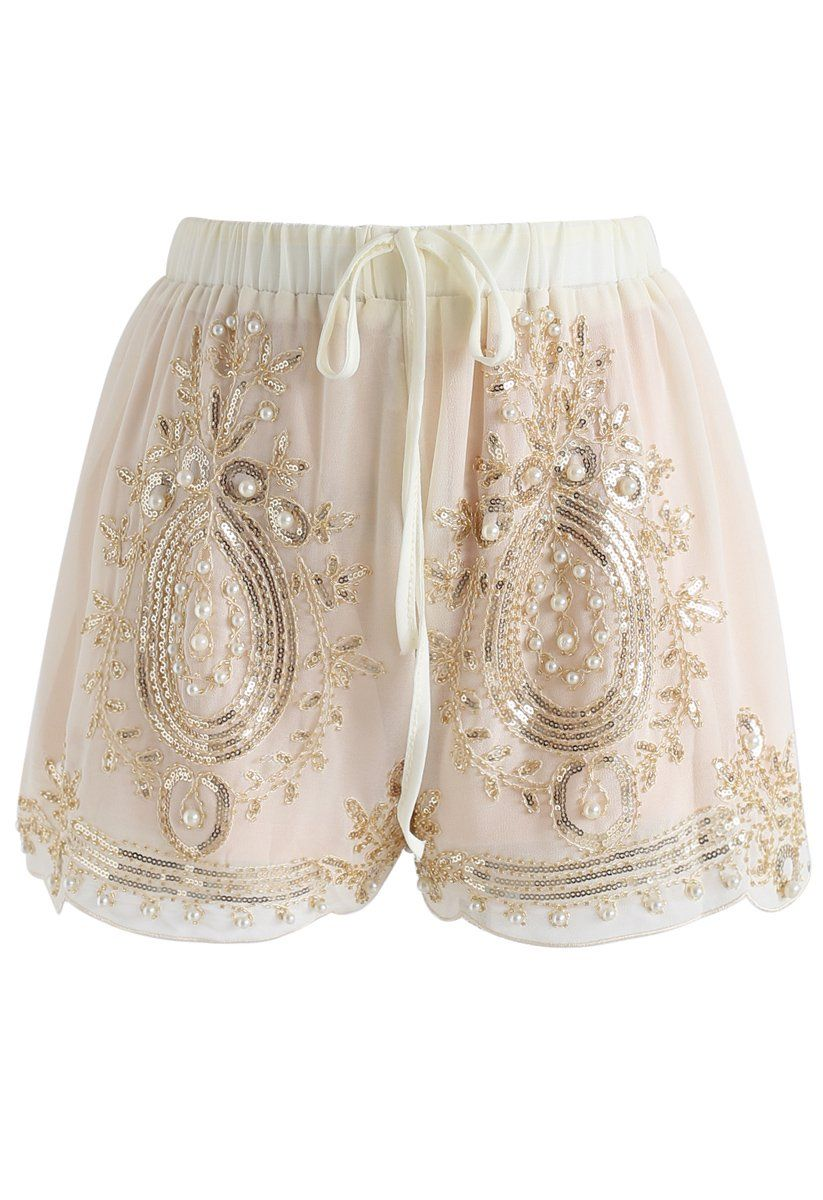 Shinning Pearls Trimming Chiffon Shorts in Cream beige S-M