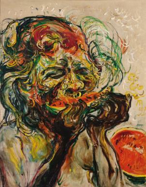 Affandi, Self Portrait, Eating Watermelon