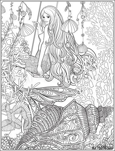 Hand Drawn Mermaid With Long Hair In Underwater World Coloring Page