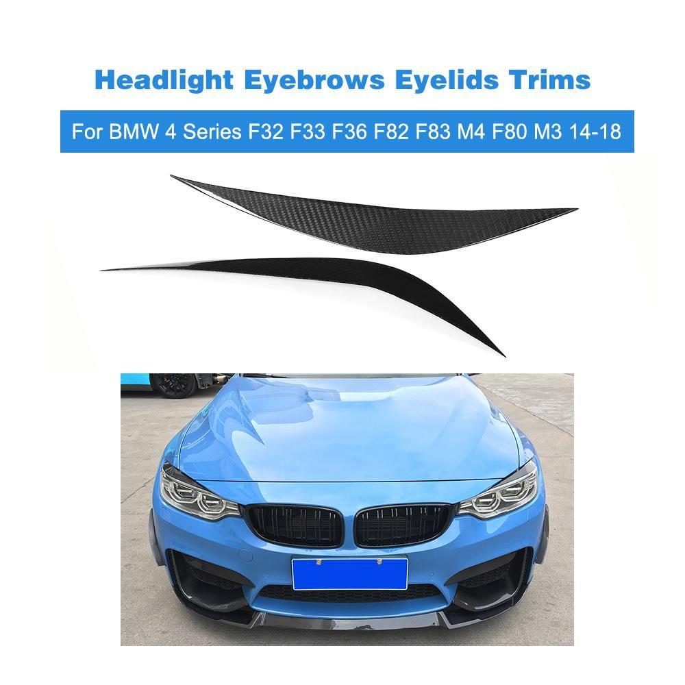 Carbon Fiber Headlight Eyebrows Eyelids Trims For Bmw 4 Series F32