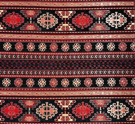 Jacquard Tapisserie kilim aztèque Patchwork Pattern Beige Chenille Ameublement Tissu
