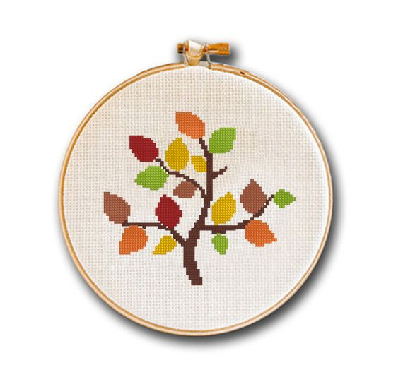Cross stitch pattern easy autumn tree trees of season