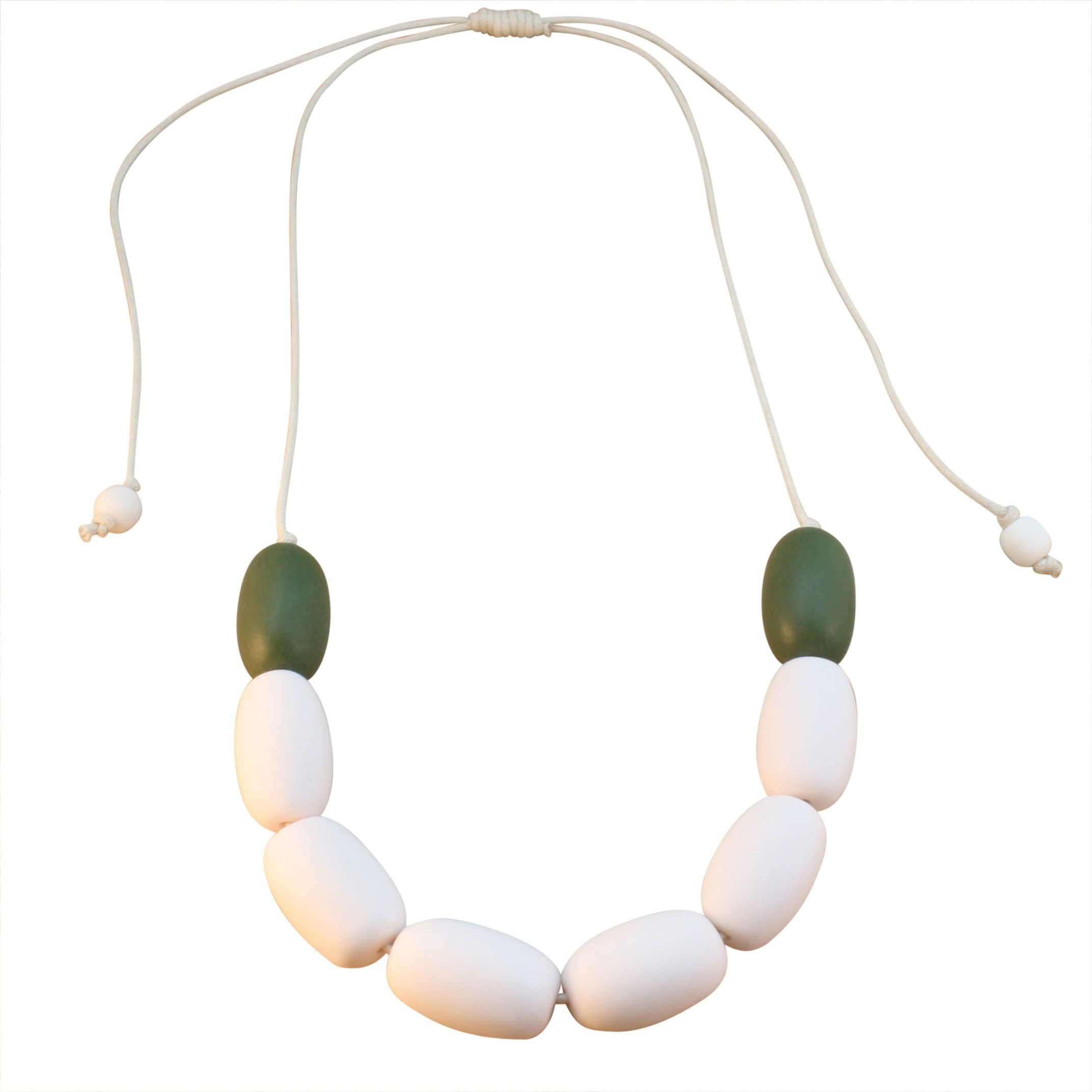 Contrast resin adjustable necklace - white and olive green
