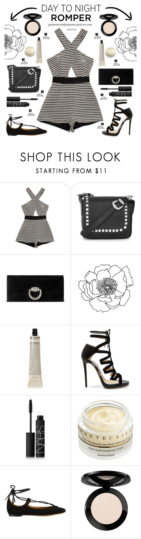 """""""Day to Night: Rompers"""" by palmtreesandpompoms ❤ liked on Polyvore featuring Alice McCall, Topshop, Gucci, Grown Alchemist, Jimmy Choo, NARS Cosmetics, Chantecaille, Chloé, Vincent Longo and DayToNight"""