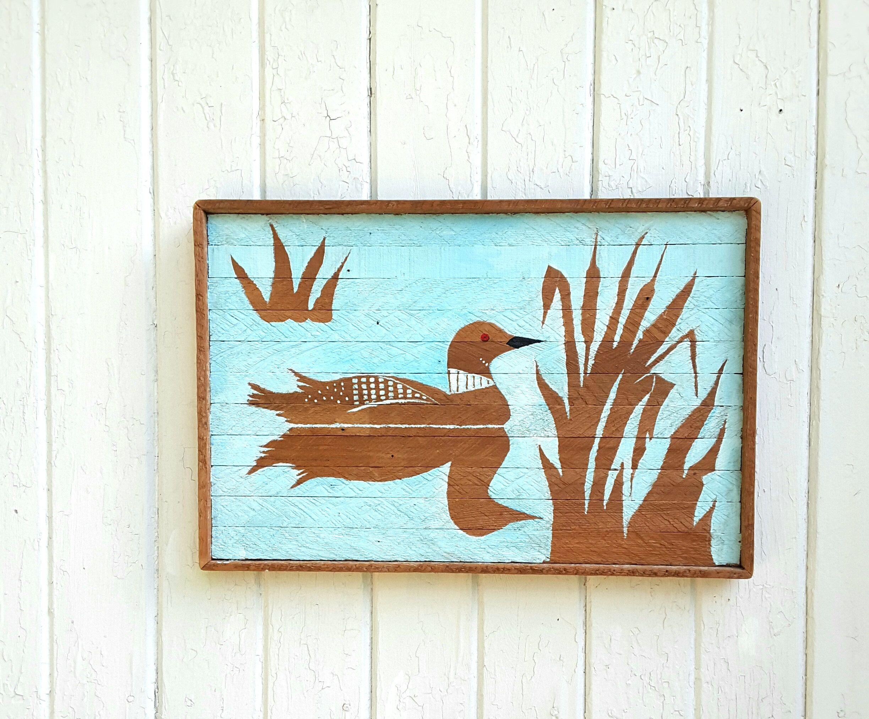 Reclaimed Wood Wall Art Acrylic Painting Loone on Lake Wood