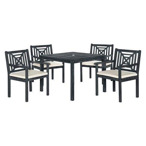 5pc Del Mar Dining Set Dark Gray Beige Safavieh Adult Unisex