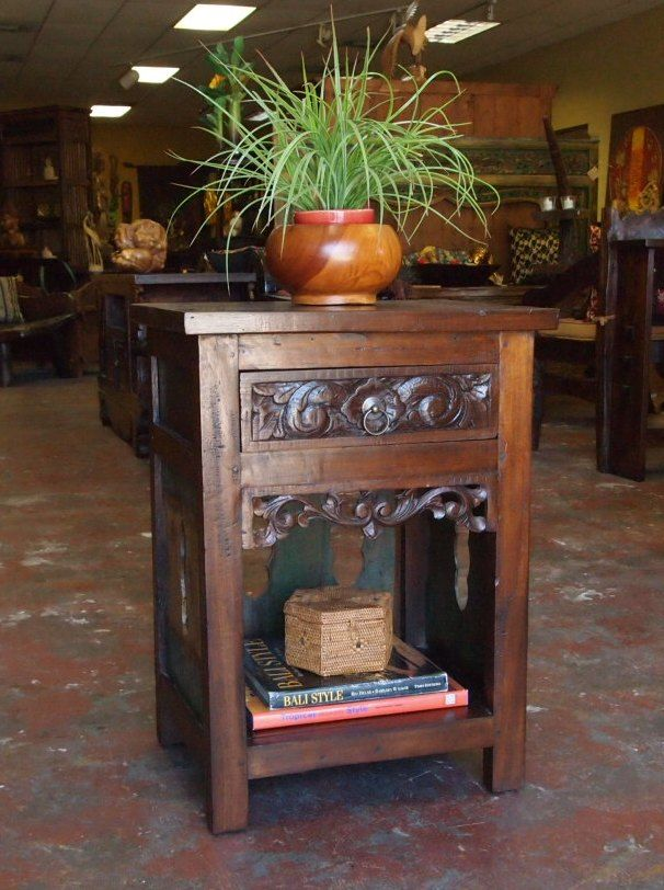 Carved Java Side Table From GadoGado.com. Indonesian / Bali Furniture