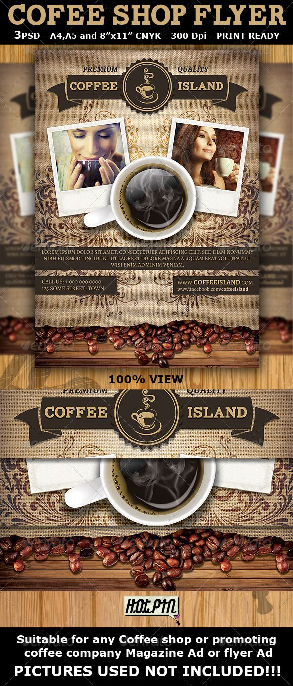 coffee shop magazine ad or flyer template promotion party flyer coffee shop magazine ad or flyer template is a modern and attractive psd template design suitable