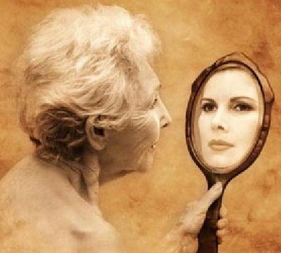 Image result for pictures of a young girl looking in a mirror of an old woman