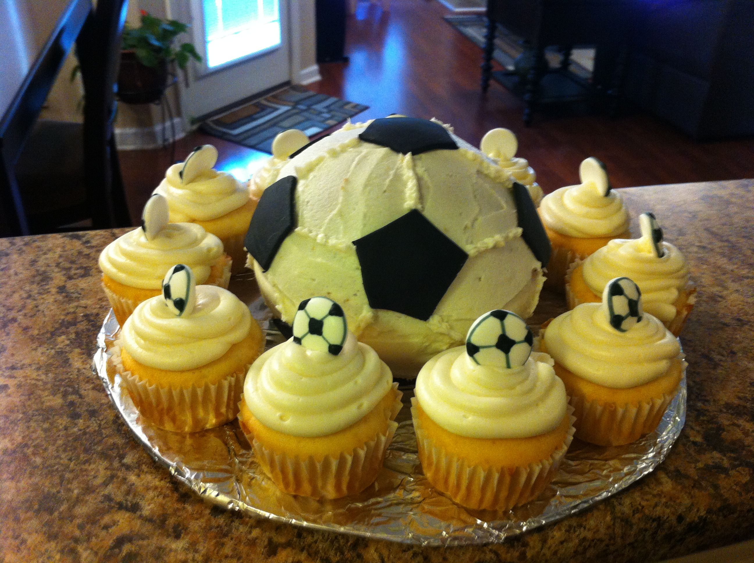A soccer ball cake for my sons soccer party tonight