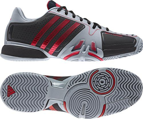 Adidas Adipower Barricade Novak Djokovic Mens Tennis Shoes White / Scarlett  (9, Black / Scarlett). Size: 9 D(M) US. Width: Medium.