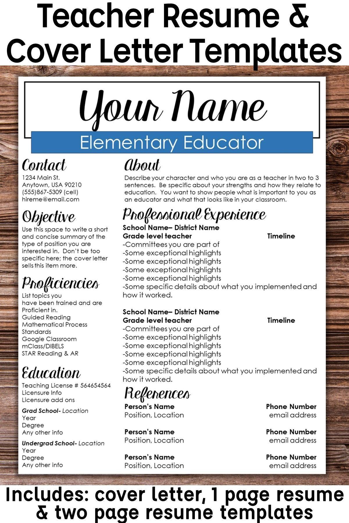 Editable teacher resume template boxed teacher resume