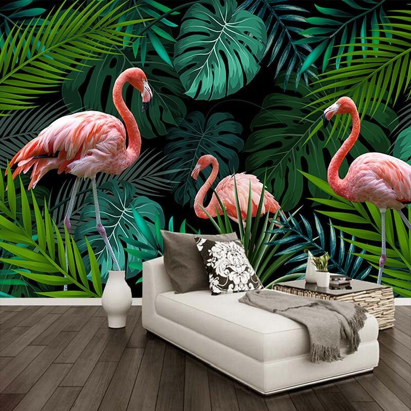 Flamingo among Tropical Leaves Wallpaper Mural (㎡) in 2020