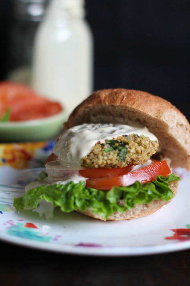 Baked Quinoa Burgers with Lemon Tahini Sauce