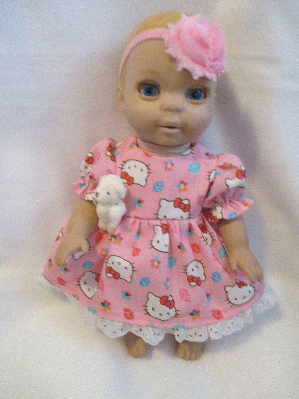 Newborn Luvabella Hello Kitty Doll Dress With Puff Sleeves Full Skirt Headband Gift Teddy Bear 3 Pc Doll Clothes With Images Doll Clothes Twin Dolls White Teddy Bear